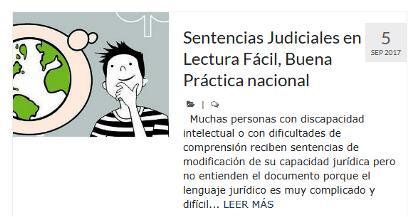 Imagen de la web de Plena inclusión Asturias donde hace referencia a las sentencias judiciales en lectura fácil