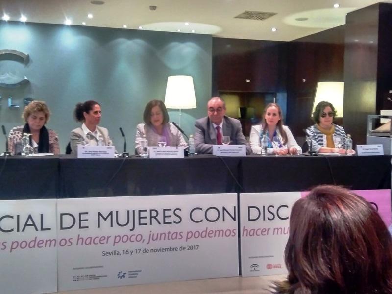 María José Sánchez Rubio, consejera de Igualdad y Políticas Sociales de la Junta de Andalucía, en la inauguración del I Foro Social de Mujeres con Discapacidad
