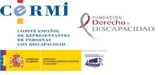 Logotipos del CERMI, la Fundación Derecho y Discapacidad y el Real Patronato sobre Discapacidad