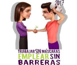 """Detalle del cartel de la Jornada """"Trabajar sin máscaras. Emplear sin barreras"""""""