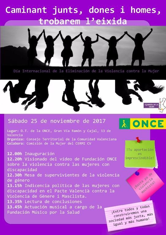 Cartel de Cermi Comunidad valenciana para el Día Internacional de la Eliminación de la Violencia contra la Mujer (25 de noviembre)