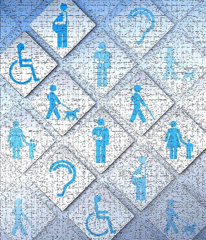 Símbolos de accesibilidad difuminados y algo vidriosos