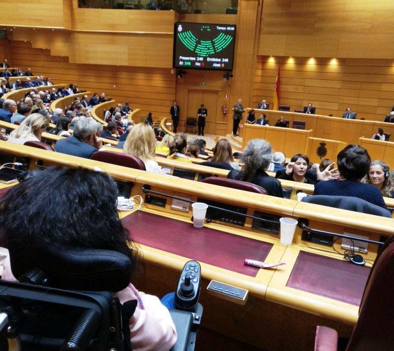 Imagen del Senado durante la aprobación definitiva de la reforma legal que acaba con la exclusión de las personas con discapacidad de los jurados populares