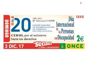 El cupón de la ONCE difunde el Día Internacional de las Personas con Discapacidad