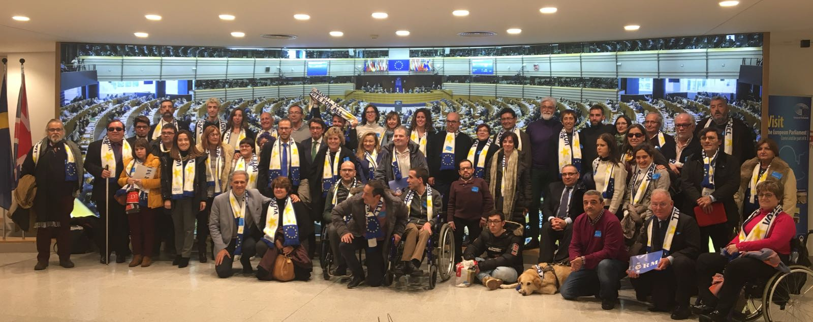 delegación de unas 60 personas del movimiento de la discapacidad española organizada en torno al CERMI