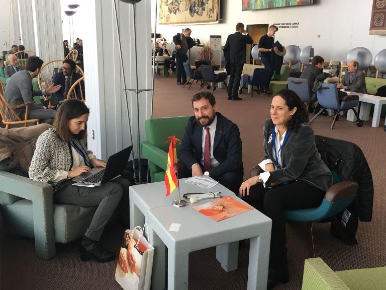 Ana Peláez en Naciones Unidas comenzando su campaña para ser miembro de la CEDAW