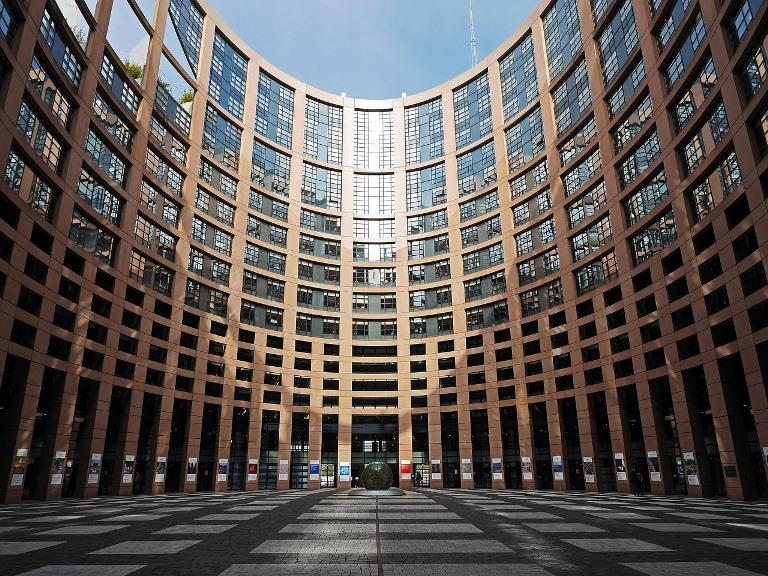 Detalle de la entrada el Parlamento Europeo