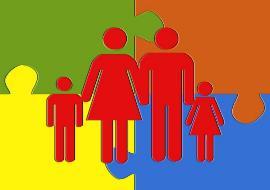 Ilustración de una familia con apariencia de puzzle
