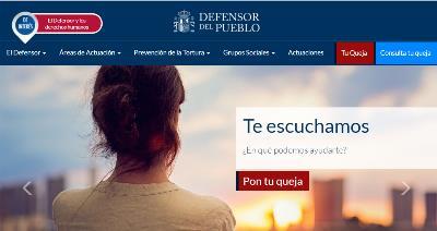 Detalle de la página web del Defensor del Pueblo