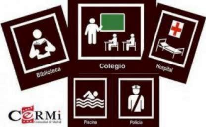 Pictogramas de señalización de edificios públicos de la Comunidad de Madrid