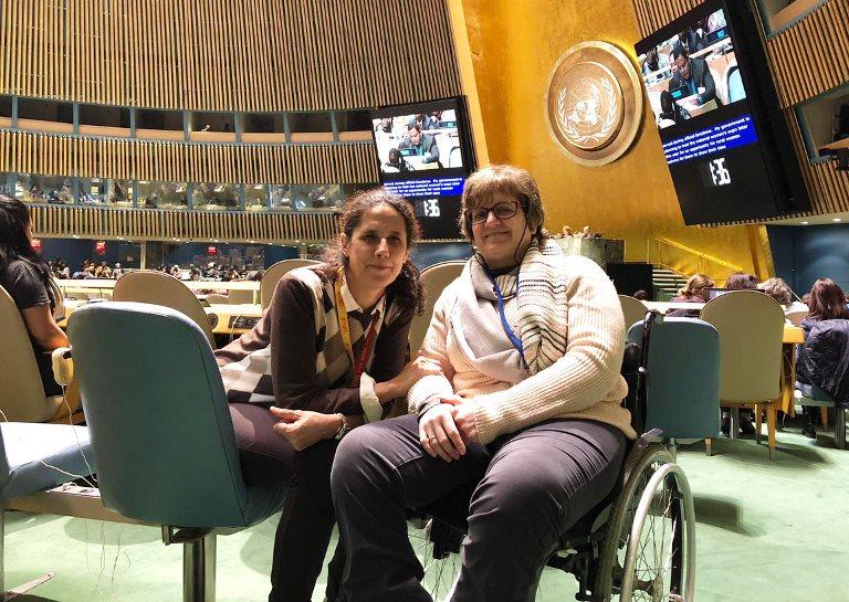 Ana Peláez y Marta Valencia en representación de la Fundación CERMI Mujeres en la sexagésima segunda edición de la Comisión de la Condición Jurídica y Social de la Mujer
