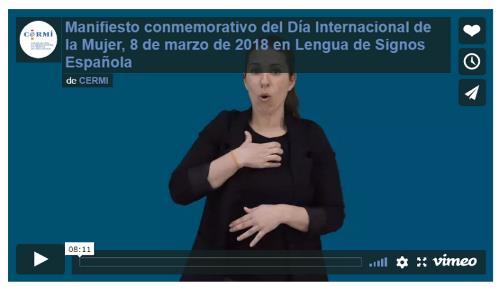 Imagen del Vídeo con el Manifiesto conmemorativo del Día Internacional de la Mujer, 8 de marzo de 2018 en Lengua de Signos Española