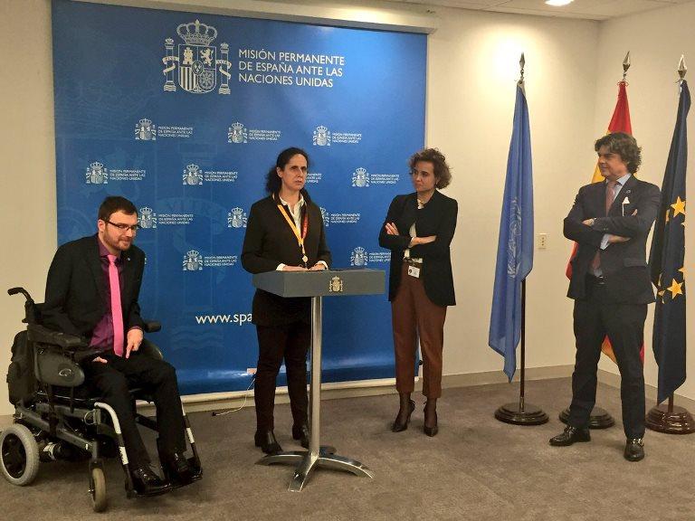Ana Peláez, vicepresidenta ejecutiva de la Fundación CERMI Mujeres presentando su candidatura en la ONU