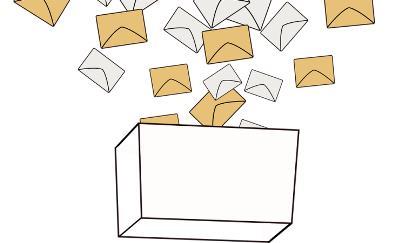 Ilustración de una urna con votos cayendo