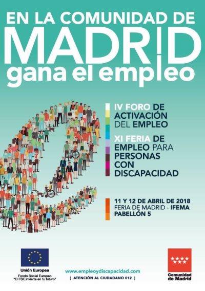 Cartel de la XI Feria de Empleo para personas con Discapacidad de la Comunidad de Madrid