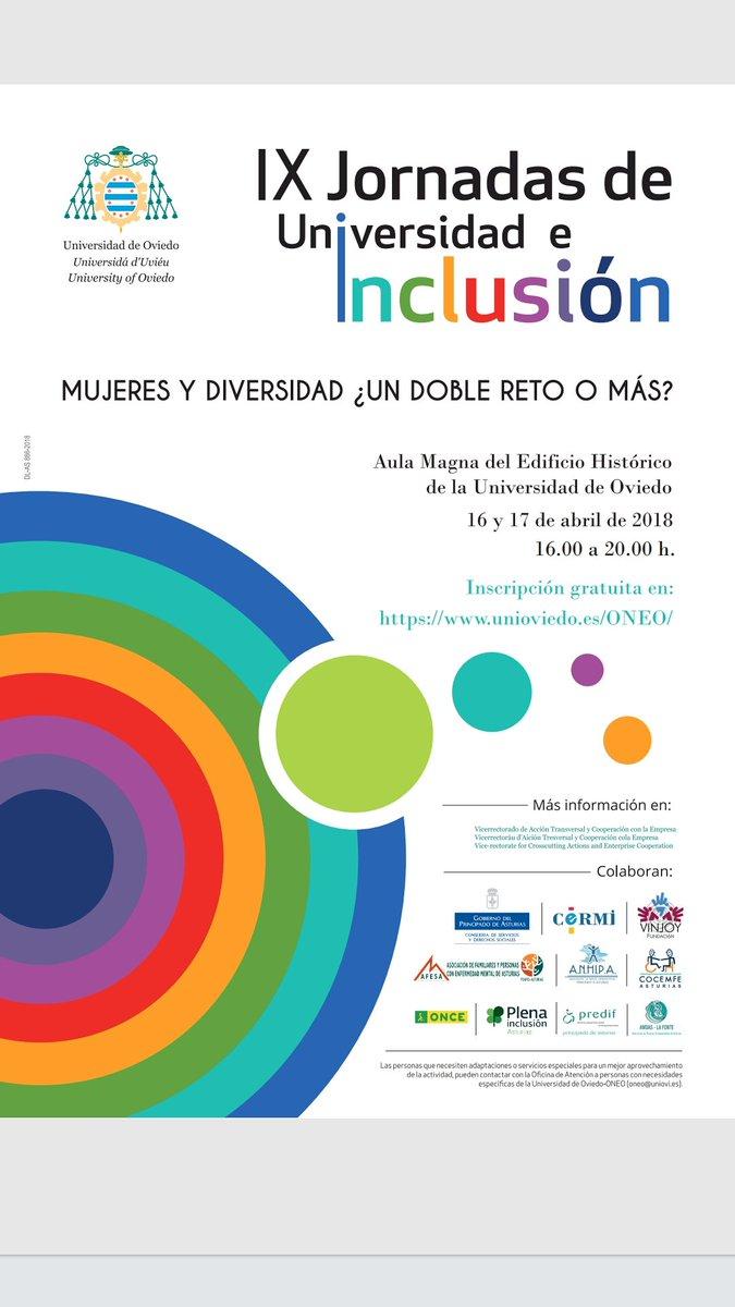 Portada del programa de las 'IX Jornadas Universidad e Inclusión: Mujeres y Diversidad ¿Un reto o más?' en la Universidad de Oviedo