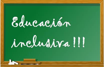 Educación inclusiva, escrito sobre una pizarra de escuela