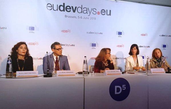 Amalia Diéguez, Patrona de la Fundación CERMI Mujeres, en un encuentro organizado por la Comisión Europea bajo el título los Días Europeos de Desarrollo
