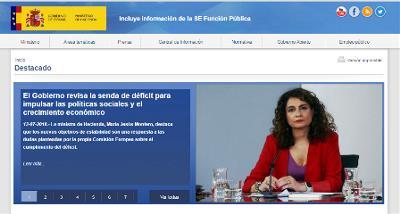 Imagen de la web del ministerio de Hacienda