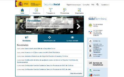 Imagen de la web de la seguridad social