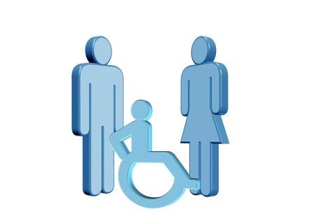 Símbolo de mujer, hombre y persona con discapacidad