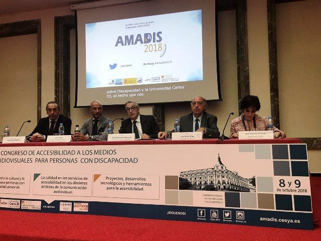 La directora ejecutiva del CERMI, Pilar Villarino, durante su intervención en la inauguración del IX Congreso AMADIS de 'Accesibilidad a los medios audiovisuales para personas con discapacidad'
