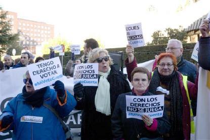 Imagen de una movilización de la discapacidad por el derecho al voto