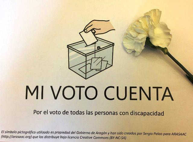 Papeleta con el lema 'mi voto cuenta'.