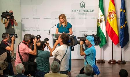 Susana Díaz, presidenta de la Junta de Andalucía, anuncia las elecciones autonómicas de 2018