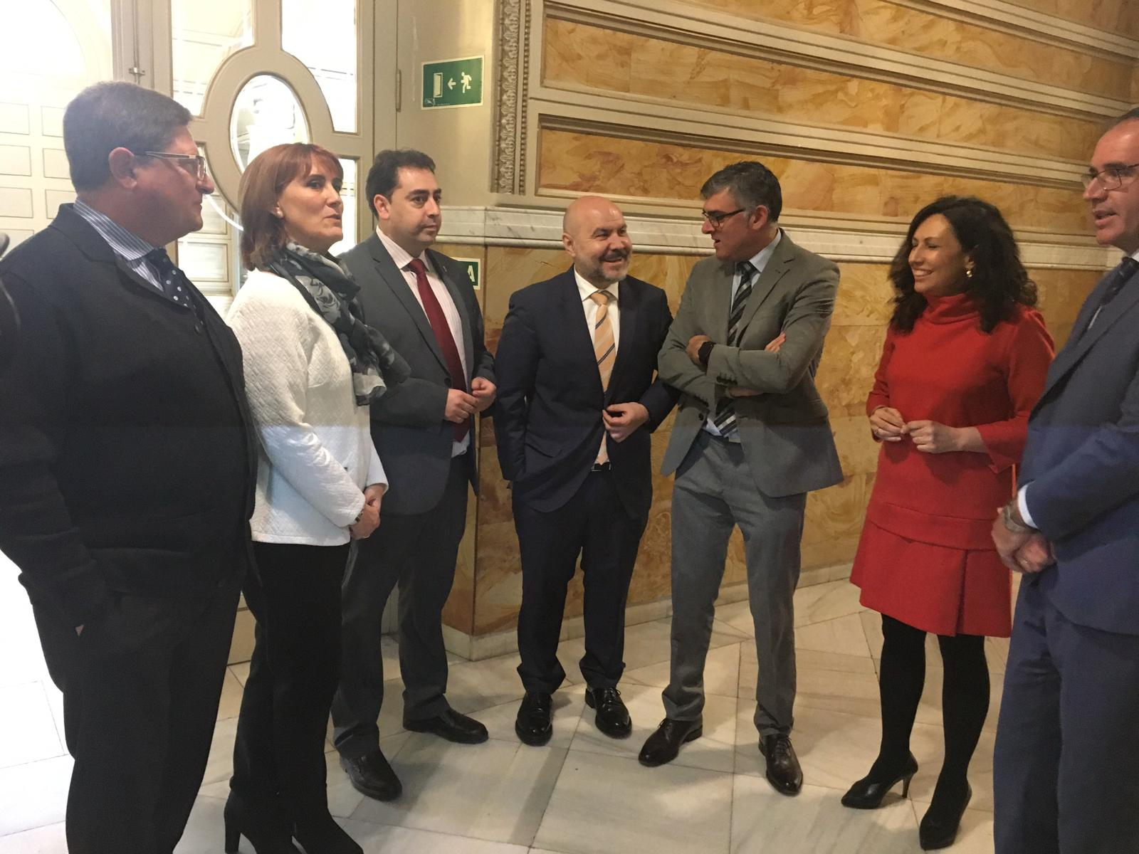 El presidente del CERMI, junto a representantes de la discapacidad en la Diputación de Cuenca.