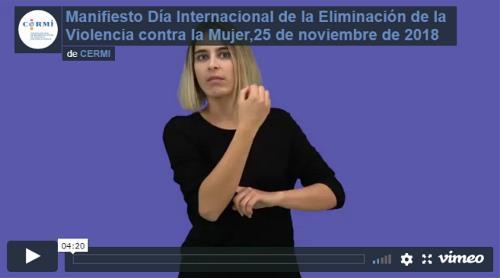 Vídeo del Manifiesto del Día Internacional de la Eliminación de la Violencia contra la Mujer, 25 de noviembre de 2018