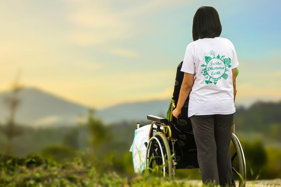 Una joven junto a una persona en silla de ruedas observan un paisaje.