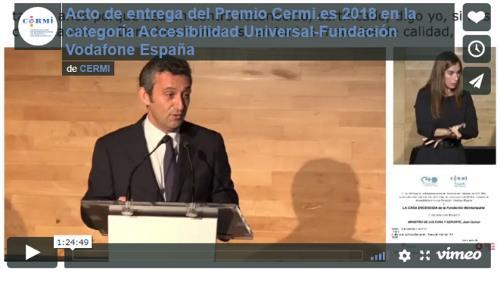 Imagen que da paso al video del Acto de entrega del Premio Cermi.es 2018 en la categoría Accesibilidad Universal-Fundación Vodafone España