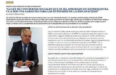 Imagen de la entrevista a Modesto Díez, presidente de CERMI Extremadura, en el boletín del CERMI
