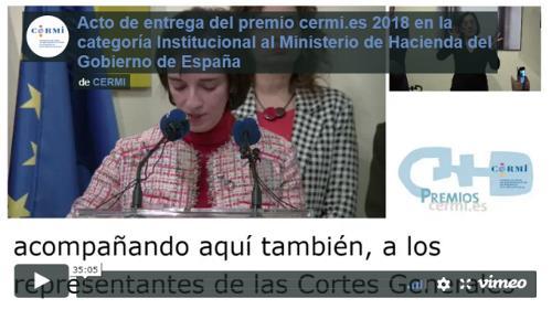 Imagen del vídeo de la entrega del Premio cermi.es 2018 en la categoría Institucional al Ministerio de Hacienda del Gobierno de España