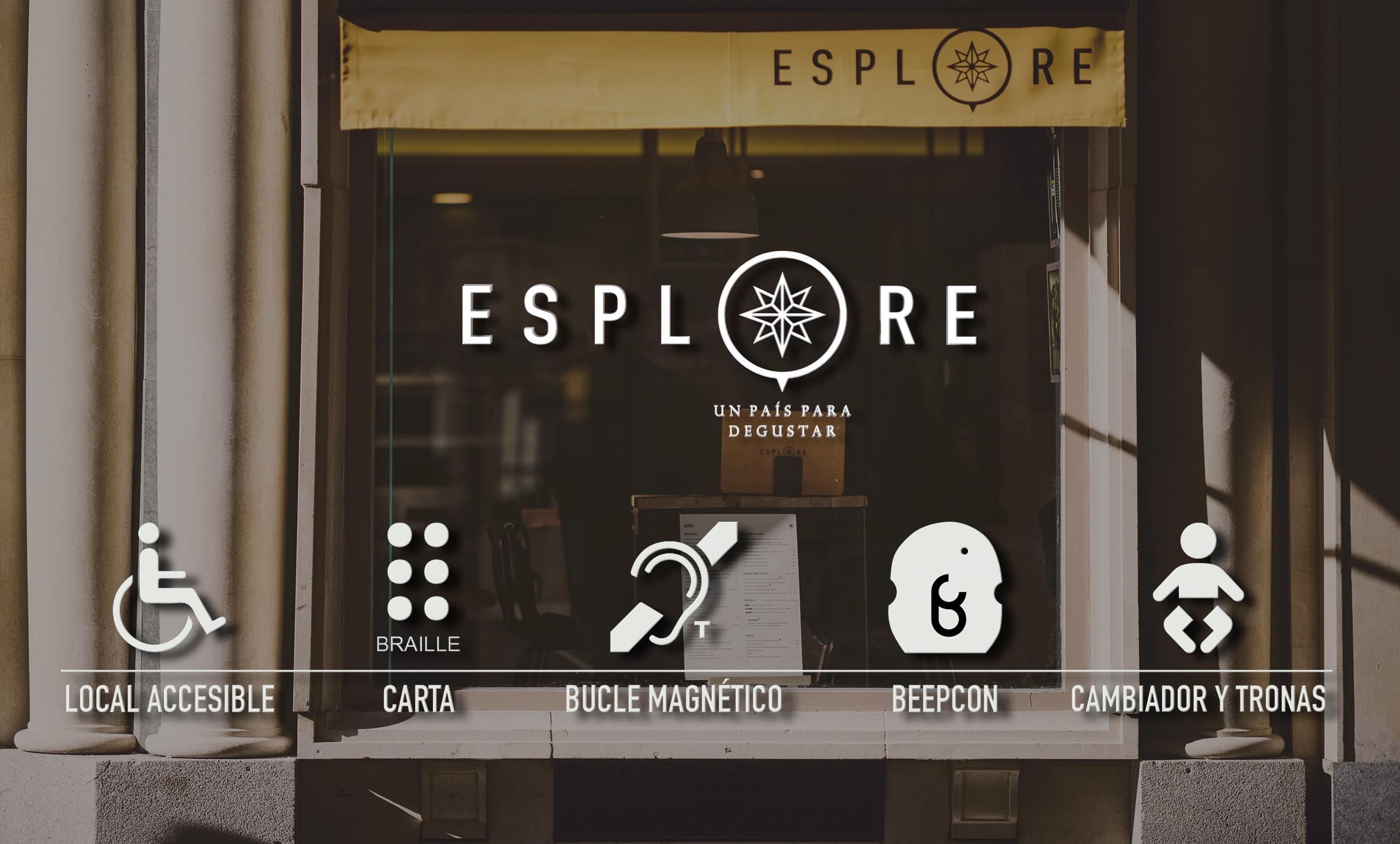 Imagen de Esplore con algunos iconos que muestran los elementos de accesibilidad