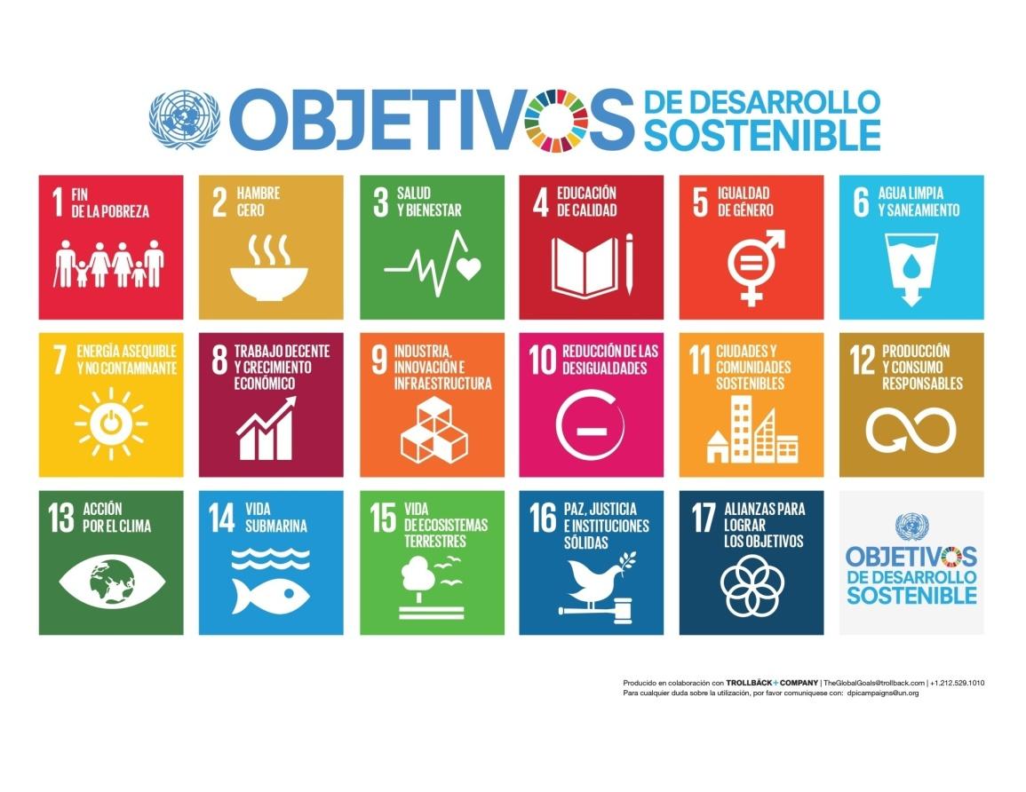 Gráfico de los ODS de las Naciones Unidas.