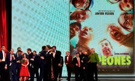 Imagen de RTVE en el momento en que se entrega el Premio Goya a la mejor película a Campeones