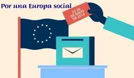 Ilustración sobre las elecciones europeas, donde se lee, por una Europa social