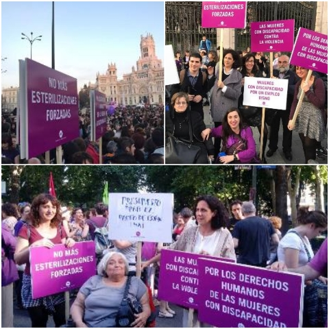 Recortes de imágenes de la Fundación CERMI Mujeres manifestándose el 8M de años pasados