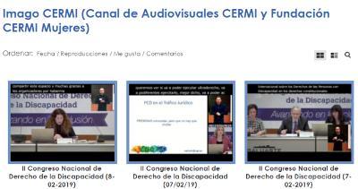 Imagen de la web del CERMI donde se alojan las grabaciones audiovisuales