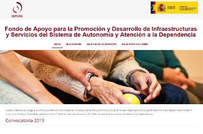 Pantallazo de la web sobre el Fondo de Apoyo para la promoción y desarrollo de infraestructuras y servicios del SAAD y de los Servicios Sociales