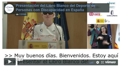 Imagen que da paso al vídeo de la presentación del libro blanco del deporte de personas con discapacidad en España
