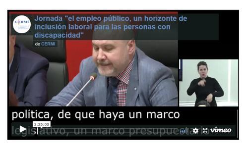 """Imagen que da paso al vídeo de la Jornada """"el empleo público, un horizonte de inclusión laboral para las personas con discapacidad"""""""