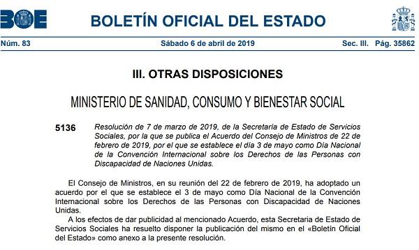 Imagen de la publicación en el BOE del acuerdo por el que se establece el 3 de mayo como Día Nacional de la Convención de la ONU sobre Discapacidad