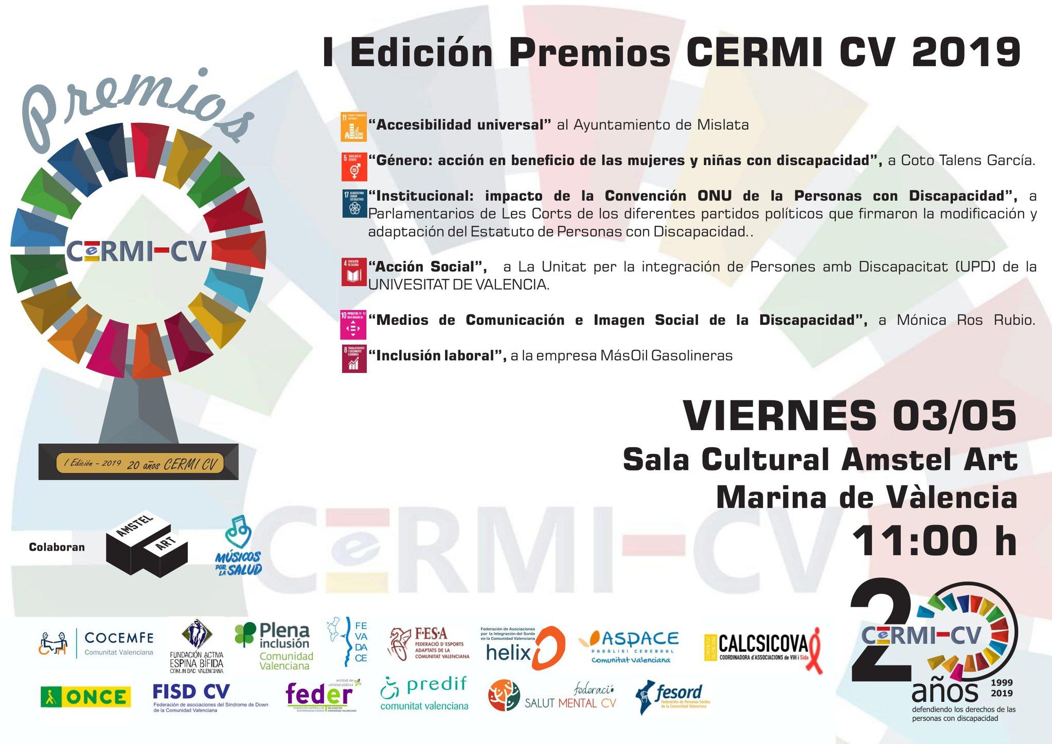 Cartel con los premios CERMI CV y la fecha de su entrega