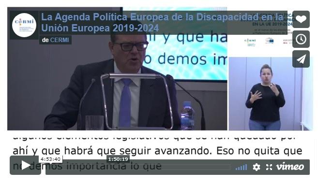 Imagen que da paso a la Grabación audiovisual íntegra de 'La Agenda Política Europea de la Discapacidad en la Unión Europea 2019-2024'