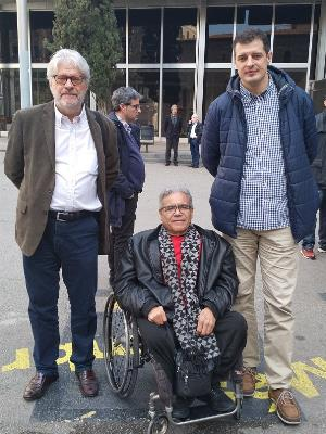 Àngel Gómez-Quintero, presidente de la Asociación por la Integración Laboral de Mossos d'Esquadra con Discapacidad; Antonio Guillén, presidente de Cocarmi; Vicenç Flores, presidente de la Ailpod