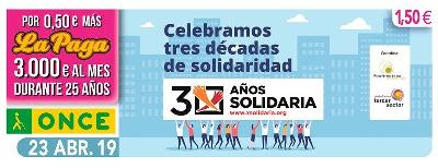 Cupón de la ONCE dedicado a la X solidaria