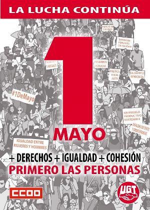 Cartel del 1 de mayo de los sindicatos UGT y CCOO